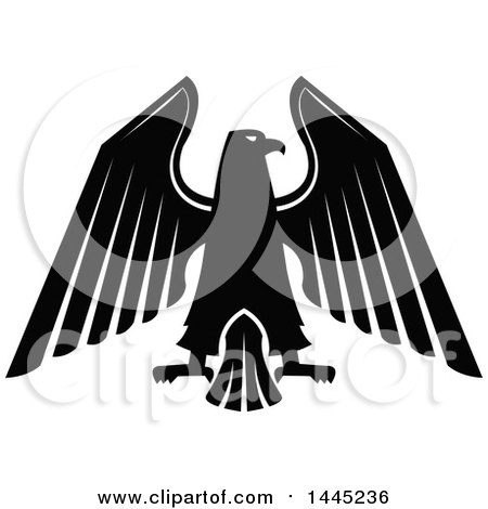 Clipart of a Black and White Eagle - Royalty Free Vector Illustration by Vector Tradition SM