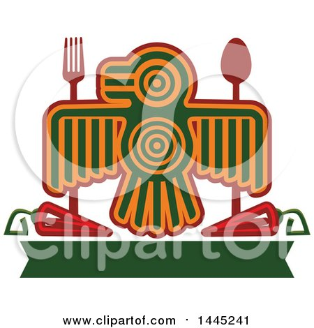 Clipart of a Bird in Aztec or Inca Totem Style, with a Fork, Spoon, Chile Peppers and Blank Green Banner - Royalty Free Vector Illustration by Vector Tradition SM