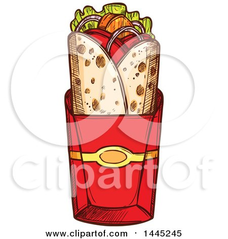 Clipart of a Sketched Doner Kebab or Gyro - Royalty Free Vector Illustration by Vector Tradition SM