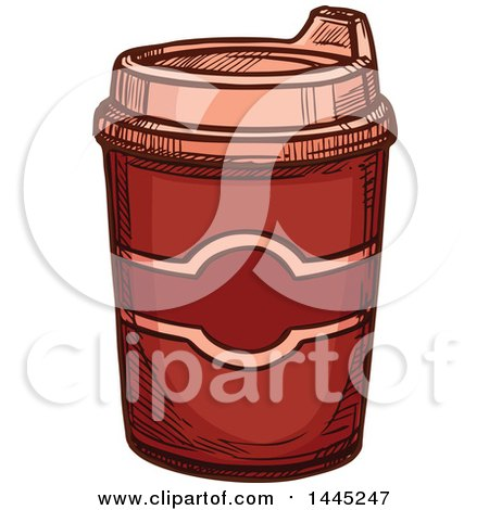 Clipart of a Sketched Hot Chocolate or Coffee in a to Go Cup - Royalty Free Vector Illustration by Vector Tradition SM