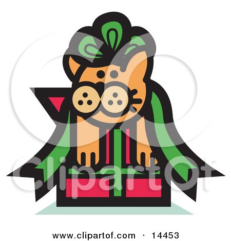 Orange Cat Stuck In A Green Ribbon Bow On A Christmas Present Clipart Illustration by Andy Nortnik