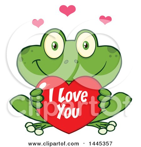 Clipart of a Cartoon Frog Holding a Valentine I Love You Heart - Royalty Free Vector Illustration by Hit Toon