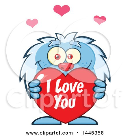 Clipart of a Cartoon Valentine Yeti Holding a Red I Love You Heart - Royalty Free Vector Illustration by Hit Toon