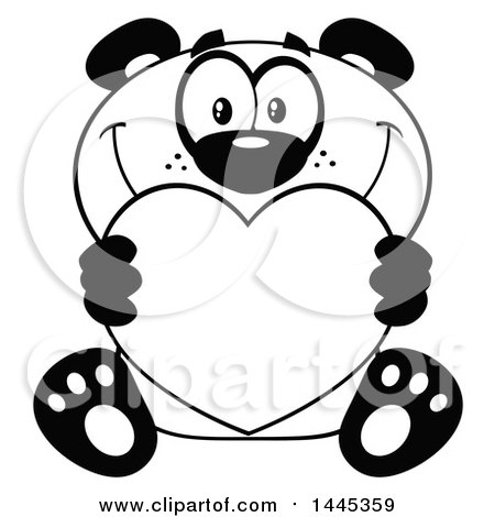 Clipart of a Cartoon Black and White Lineart Happy Panda Holding a Valentine Love Heart - Royalty Free Vector Illustration by Hit Toon