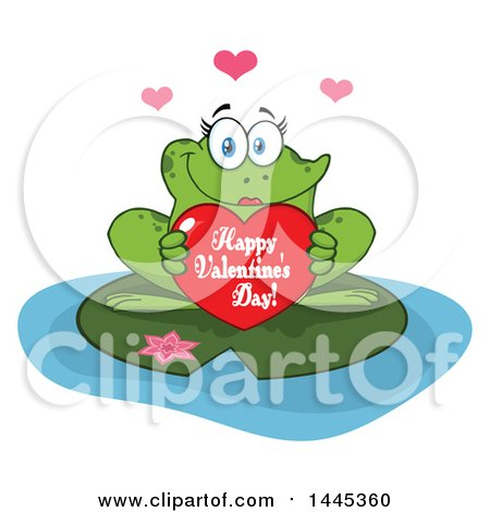 Clipart of a Cartoon Female Frog Holding a Red Happy Valentines Day Love Heart on a Lily Pad - Royalty Free Vector Illustration by Hit Toon