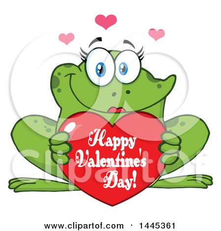 Clipart of a Cartoon Female Frog Holding a Red Happy Valentines Day Love Heart - Royalty Free Vector Illustration by Hit Toon