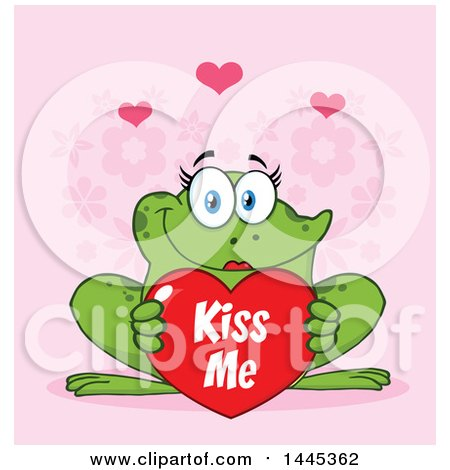 Clipart of a Cartoon Female Frog Holding a Red Valentine Kiss Me Love Heart, over Pink - Royalty Free Vector Illustration by Hit Toon