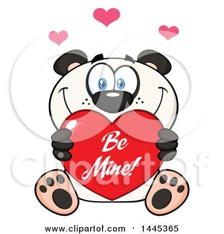 Clipart of a Cartoon Happy Panda Holding a Red Be Mine Valentine Love Heart - Royalty Free Vector Illustration by Hit Toon