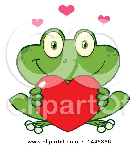 Clipart of a Cartoon Frog Holding a Valentine Love Heart - Royalty Free Vector Illustration by Hit Toon