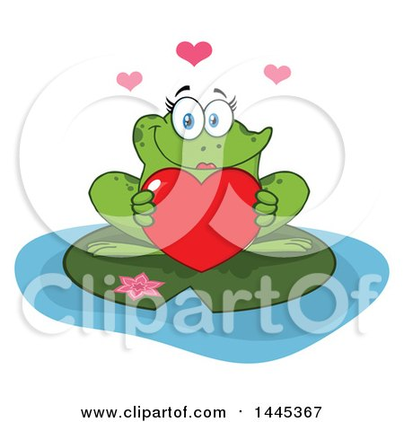Clipart of a Cartoon Female Frog Holding a Red Valentine Love Heart on a Lily Pad - Royalty Free Vector Illustration by Hit Toon