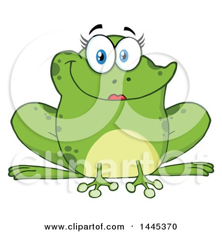Clipart of a Cartoon Female Frog - Royalty Free Vector Illustration by Hit Toon
