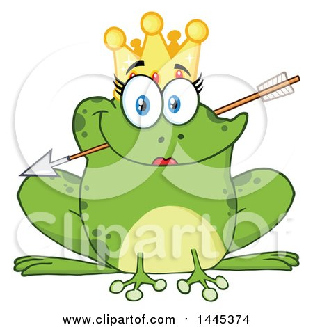 Clipart of a Cartoon Princess Frog Biting Cupids Arrow - Royalty Free Vector Illustration by Hit Toon