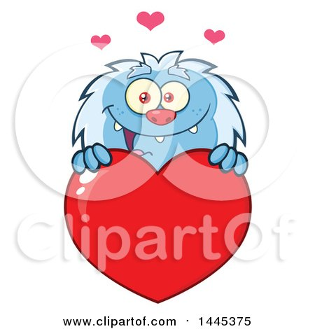 Clipart of a Cartoon Valentine Yeti over a Red Love Heart - Royalty Free Vector Illustration by Hit Toon
