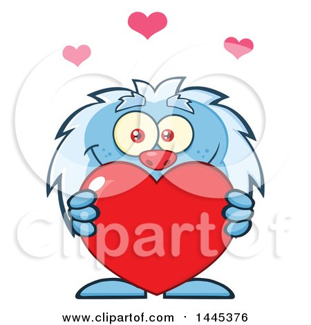 Clipart of a Cartoon Valentine Yeti Holding a Red Love Heart - Royalty Free Vector Illustration by Hit Toon