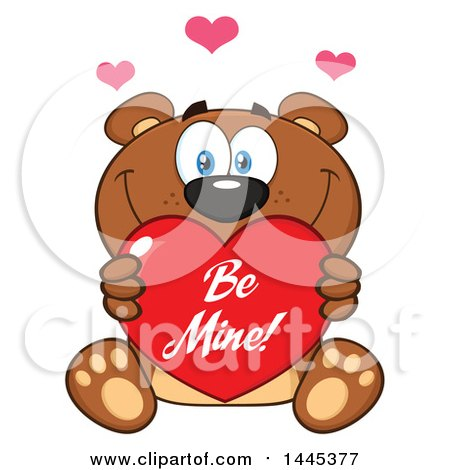 Clipart of a Cartoon Teddy Bear Holding a Be Mine Valentine Love Heart - Royalty Free Vector Illustration by Hit Toon