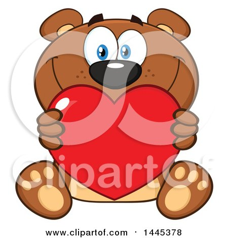 Clipart of a Cartoon Teddy Bear Holding a Valentine Love Heart - Royalty Free Vector Illustration by Hit Toon