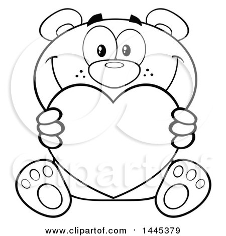 Clipart of a Cartoon Black and White Lineart Teddy Bear Holding a Valentine Love Heart - Royalty Free Vector Illustration by Hit Toon