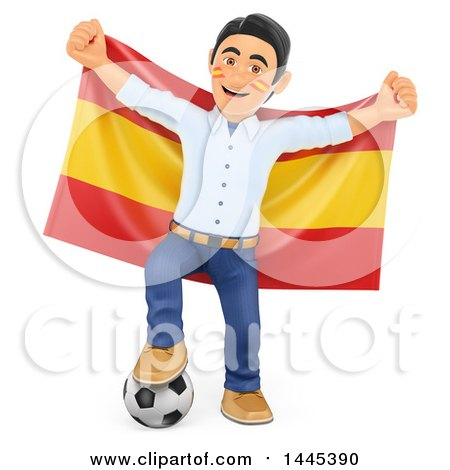 Clipart of a 3d Male Football Sports Fan Resting a Foot on a Soccer Ball and Holding up a Spanish Flag, on a White Background - Royalty Free Illustration by Texelart