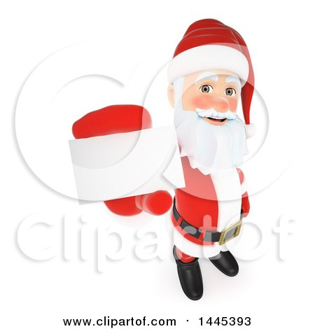 Clipart of a 3d christmas santa claus holding up a business card on clipart of a 3d christmas santa claus holding up a business card on a white background royalty free illustration by texelart colourmoves
