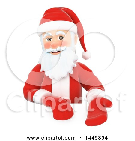 Clipart of a 3d Christmas Santa Claus Presenting over a Sign, on a White Background - Royalty Free Illustration by Texelart