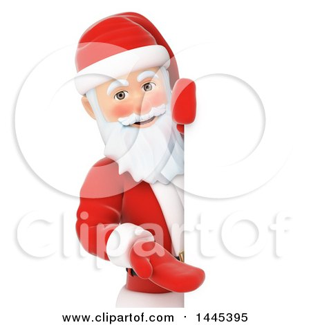 Clipart of a 3d Christmas Santa Claus Presenting Around a Sign, on a White Background - Royalty Free Illustration by Texelart