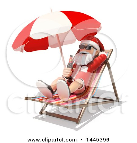 Clipart of a 3d Christmas Santa Claus Relaxing with a Beer in a Beach Chair, on a White Background - Royalty Free Illustration by Texelart