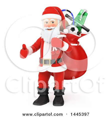 Clipart of a 3d Christmas Santa Claus Carrying a Sack and Giving a Thumb Up, on a White Background - Royalty Free Illustration by Texelart