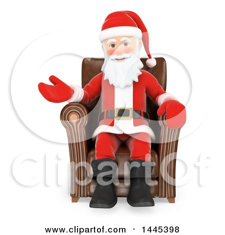 Clipart of a 3d Christmas Santa Claus Sitting in a Chair and Presenting, on a White Background - Royalty Free Illustration by Texelart