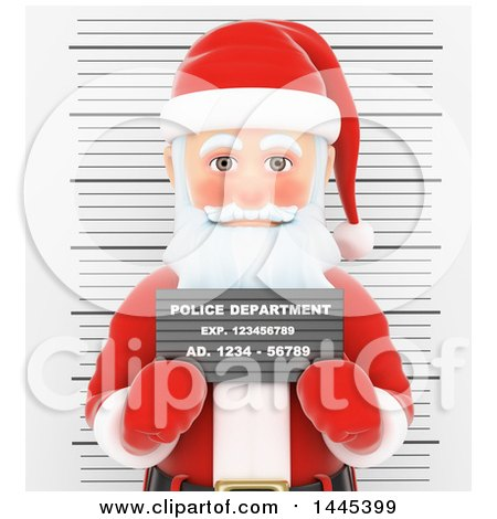Clipart of a 3d Christmas Santa Claus Getting His Mug Shot Taken, on a White Background - Royalty Free Illustration by Texelart