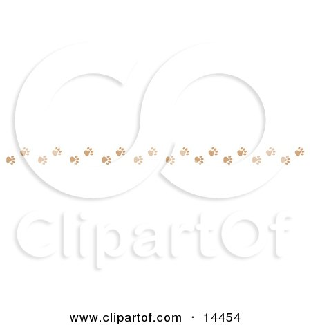 Border of Dog Paw Prints Clipart Illustration by Andy Nortnik
