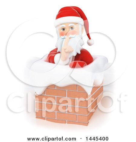 Clipart of a 3d Christmas Santa Claus Sneaking down a Chimney, on a White Background - Royalty Free Illustration by Texelart