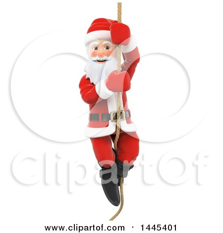 Clipart of a 3d Christmas Santa Claus Climbing a Rope, on a White Background - Royalty Free Illustration by Texelart