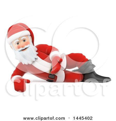 Clipart of a 3d Christmas Santa Claus Presenting and Laying on His Side, on a White Background - Royalty Free Illustration by Texelart