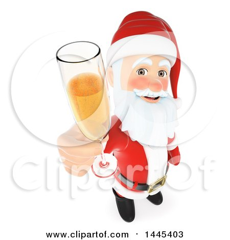 Clipart of a 3d Christmas Santa Claus Holding up a Glass of Champagne, on a White Background - Royalty Free Illustration by Texelart