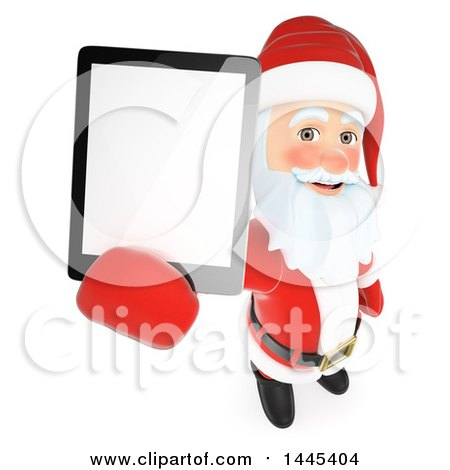 Clipart of a 3d Christmas Santa Claus Holding up a Tablet Computer with a Blank Screen, on a White Background - Royalty Free Illustration by Texelart