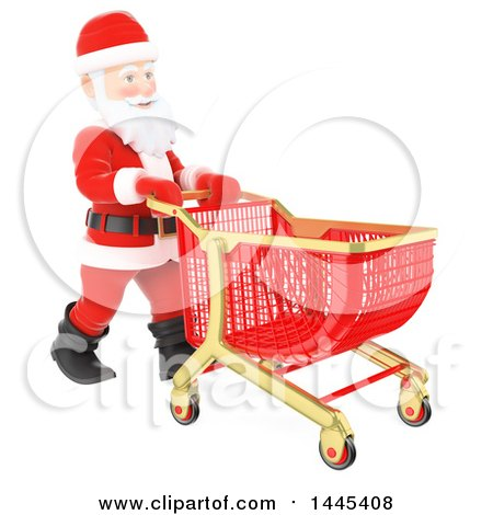 Clipart of a 3d Christmas Santa Claus Pushing a Shopping Cart, on a White Background - Royalty Free Illustration by Texelart