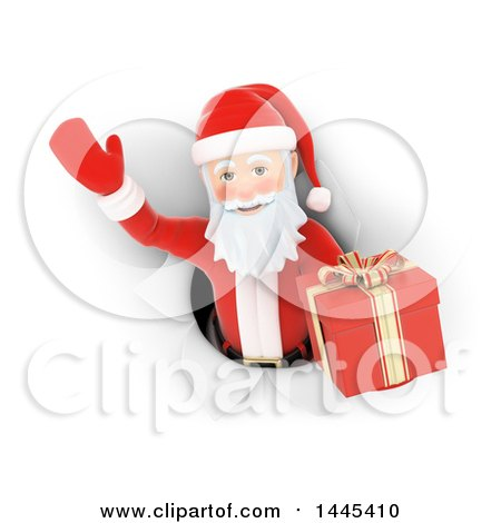 Clipart of a 3d Christmas Santa Claus Emerging Through a Hole with a Gift, on a White Background - Royalty Free Illustration by Texelart