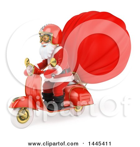 Clipart of a 3d Christmas Santa Claus Riding a Motorcycle with a Sack, on a White Background - Royalty Free Illustration by Texelart