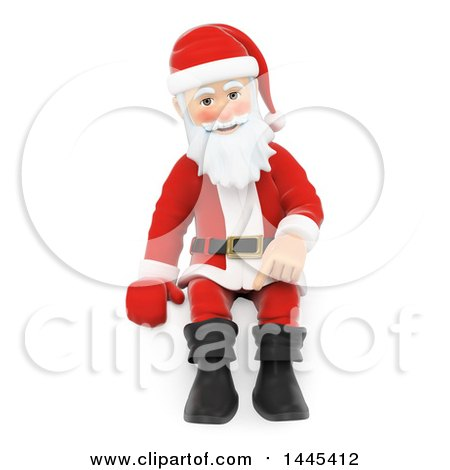 Clipart of a 3d Christmas Santa Claus Sitting, on a White Background - Royalty Free Illustration by Texelart