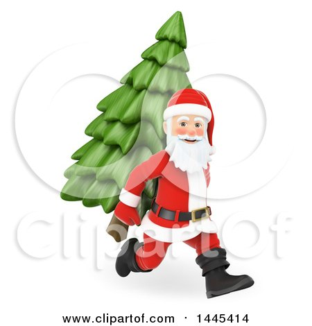 Clipart of a 3d Christmas Santa Claus Running with a Christmas Tree on His Back, on a White Background - Royalty Free Illustration by Texelart