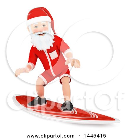 Clipart of a 3d Christmas Santa Claus Surfing, on a White Background - Royalty Free Illustration by Texelart
