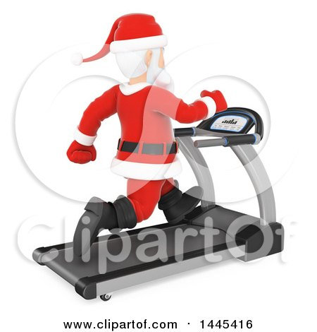 Clipart of a 3d Christmas Santa Claus Running on a Treadmill, on a White Background - Royalty Free Illustration by Texelart