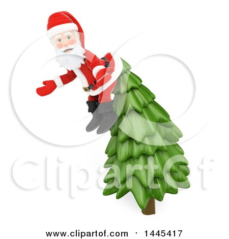 Clipart of a 3d Christmas Santa Claus Caugh on Top of a Christmas Tree, on a White Background - Royalty Free Illustration by Texelart