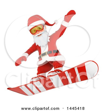 Clipart of a 3d Christmas Santa Claus Snowboarding, on a White Background - Royalty Free Illustration by Texelart