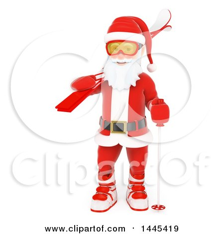 Clipart of a 3d Christmas Santa Claus Carrying Skis, on a White Background - Royalty Free Illustration by Texelart