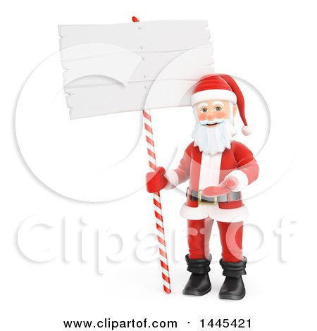 Clipart of a 3d Christmas Santa Claus Presenting by a Blank Sign, on a White Background - Royalty Free Illustration by Texelart