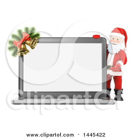 Clipart of a 3d Christmas Santa Claus Presenting a Laptop Computer with a Blank Screen, on a White Background - Royalty Free Illustration by Texelart
