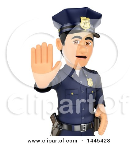 Clipart of a 3d Male Police Officer Holding out a Hand to Stop, on a White Background - Royalty Free Illustration by Texelart