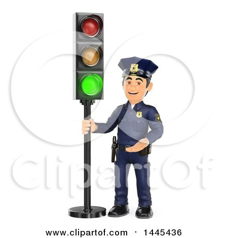 Clipart of a 3d Male Police Officer by a Green Traffic Light, on a White Background - Royalty Free Illustration by Texelart
