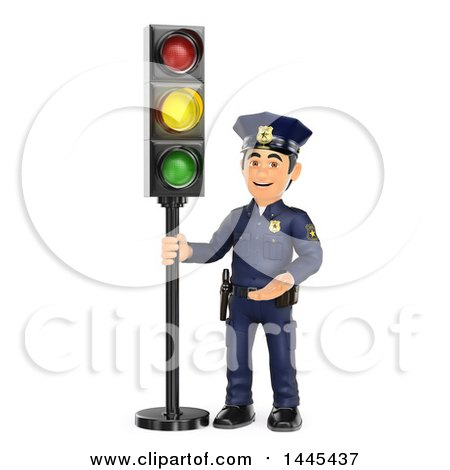 Clipart of a 3d Male Police Officer by a Yellow Traffic Light, on a White Background - Royalty Free Illustration by Texelart